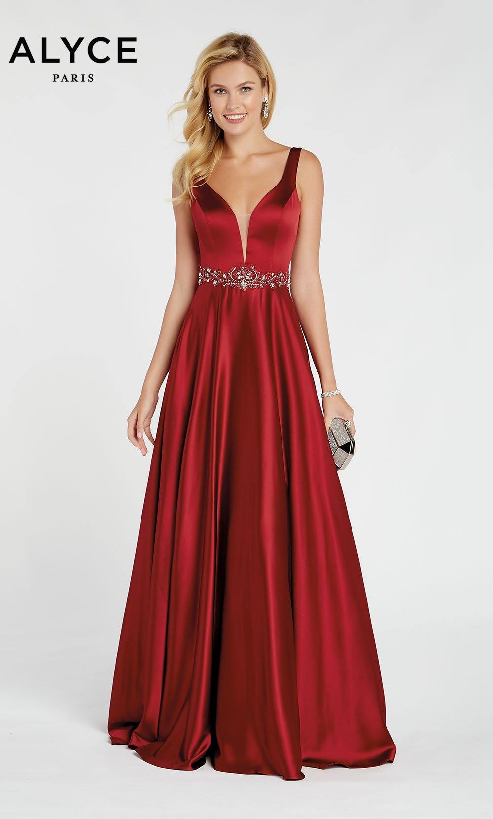Dark Red luminous satin A line formal dress with a plunging neckline and beaded natural waistline