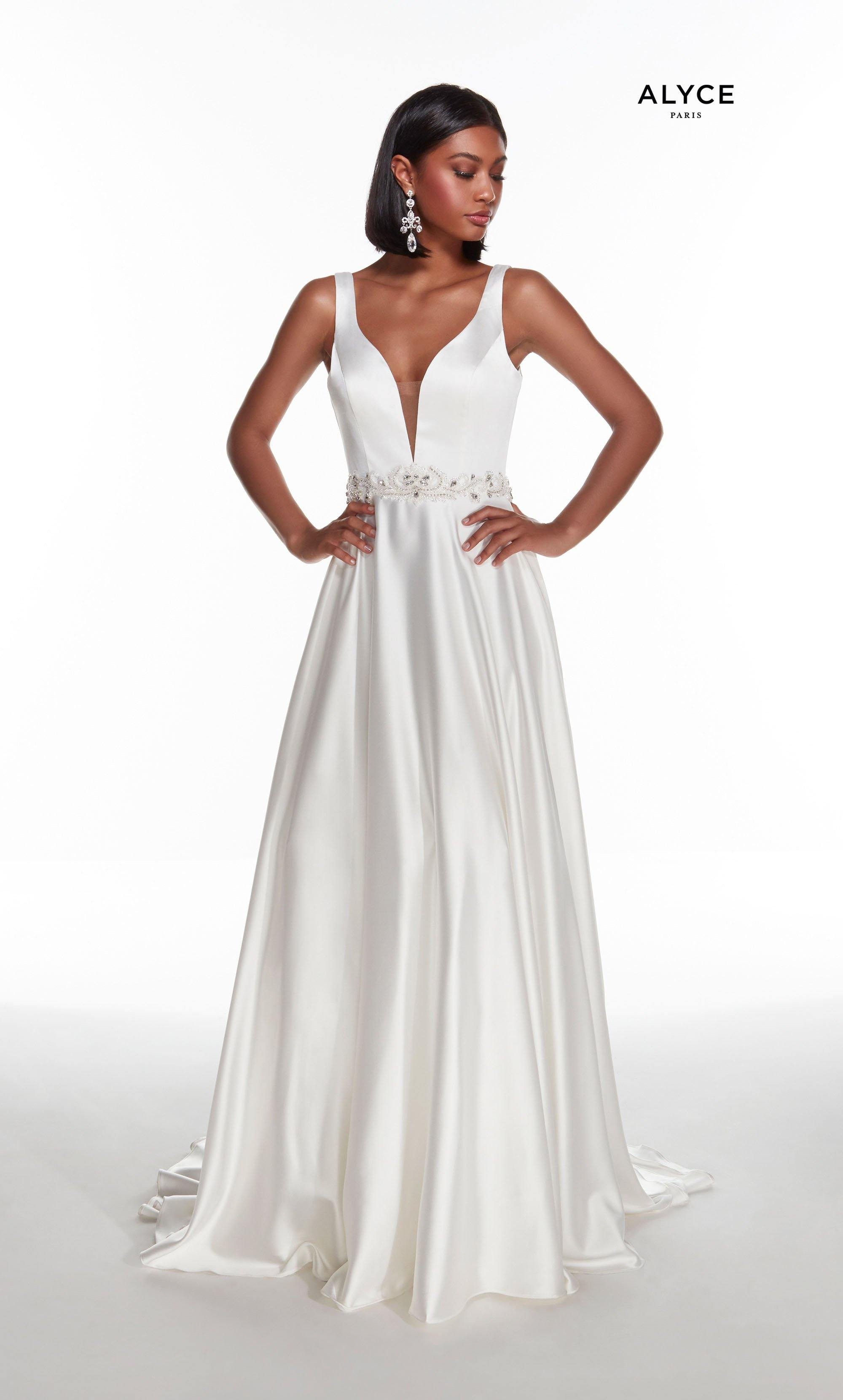 Diamond White luminous satin informal bridal dress with a plunging neckline and beaded natural waistline