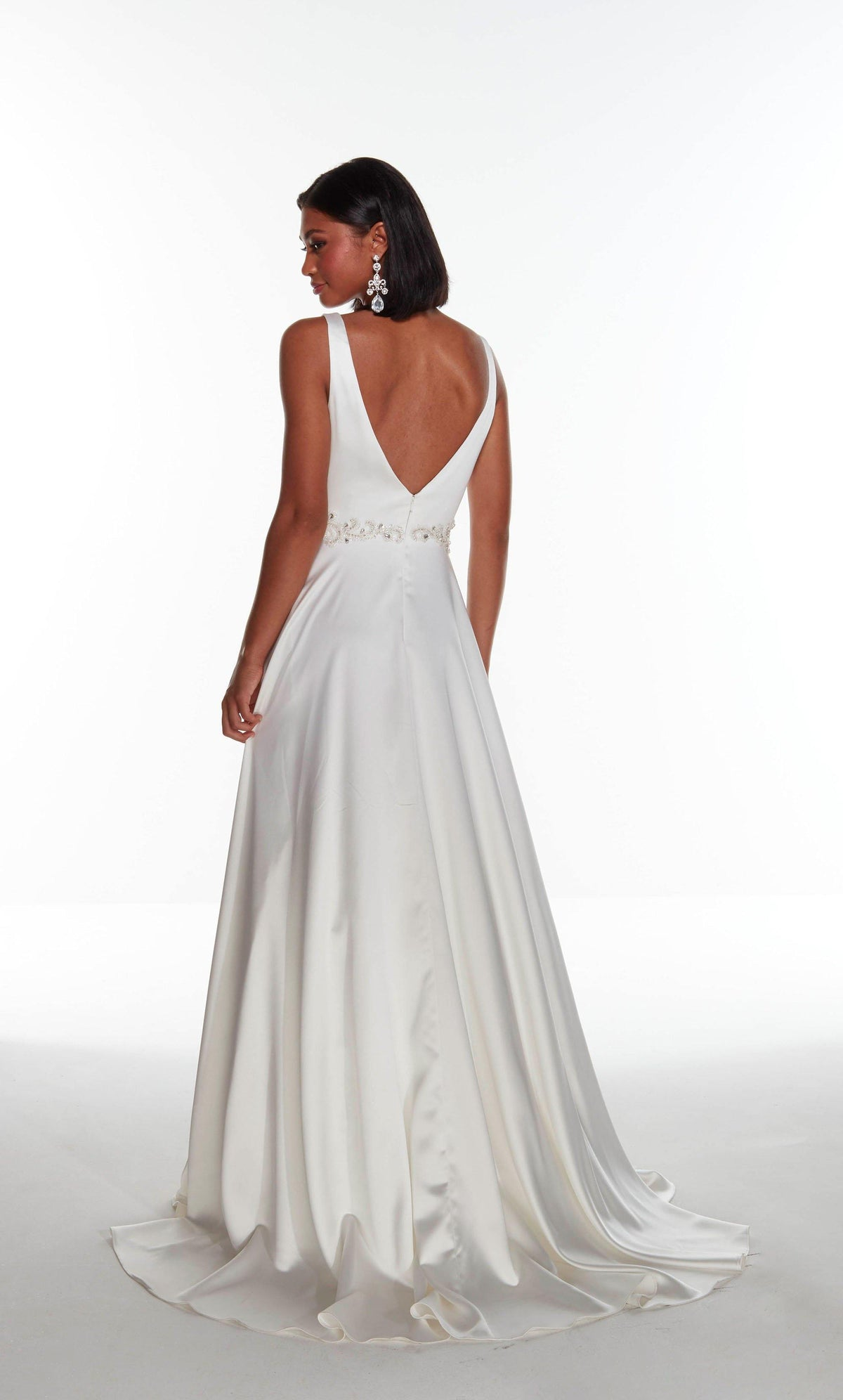 Diamond White luminous satin informal bridal dress with a V back, beaded natural waistline, and train