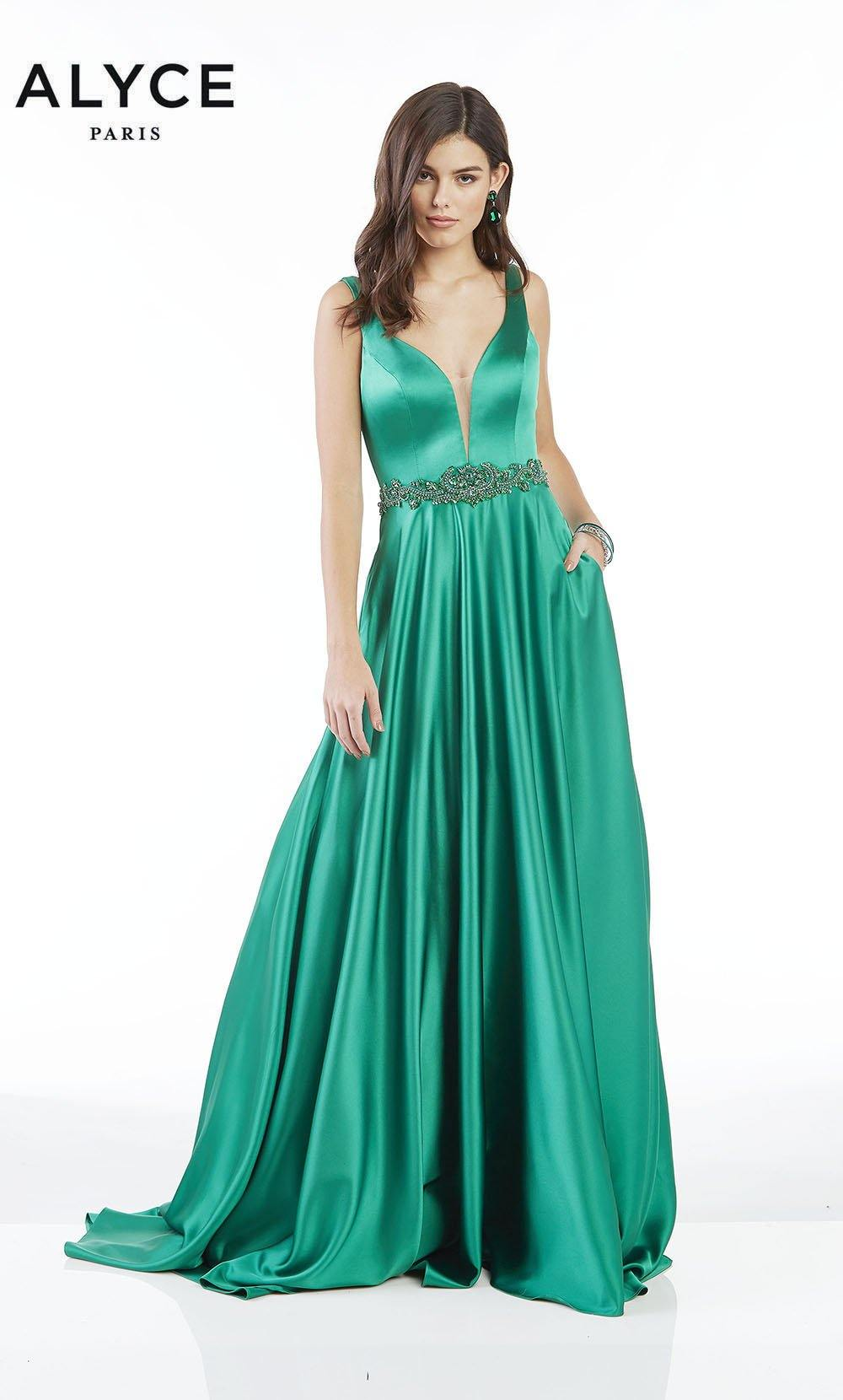Emerald Green luminous satin A line formal dress with a plunging neckline and beaded natural waistline