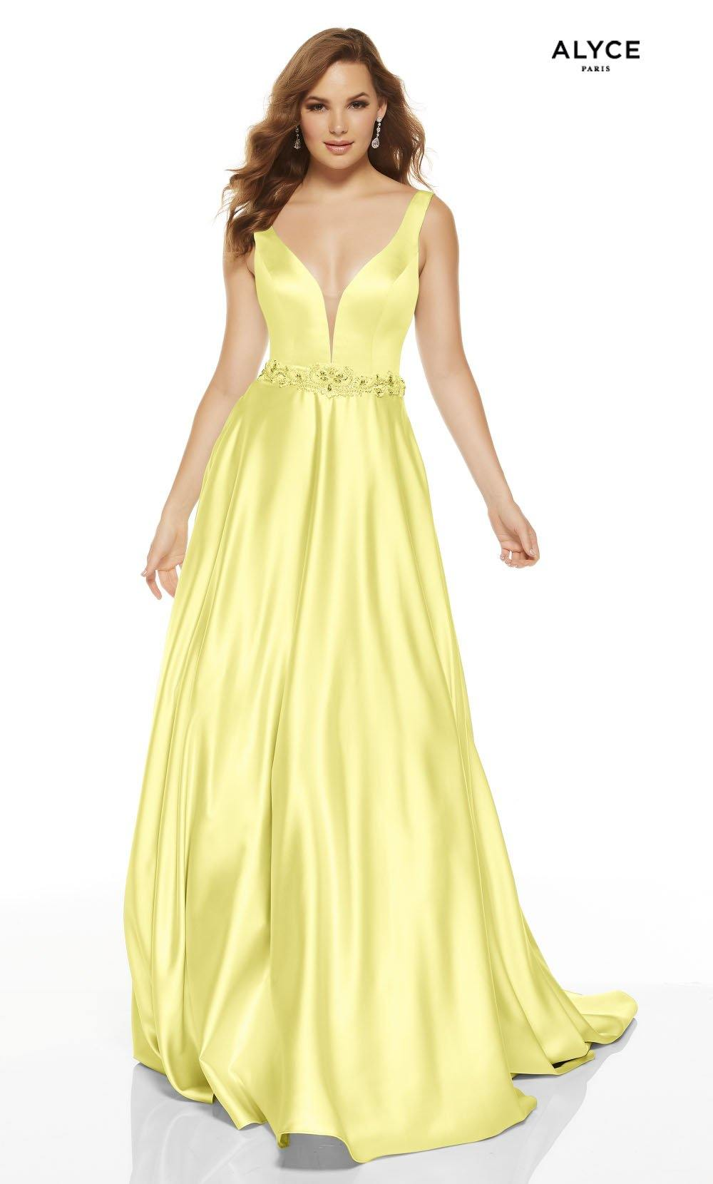 Light Yellow luminous satin A line formal dress with a plunging neckline and beaded natural waistline