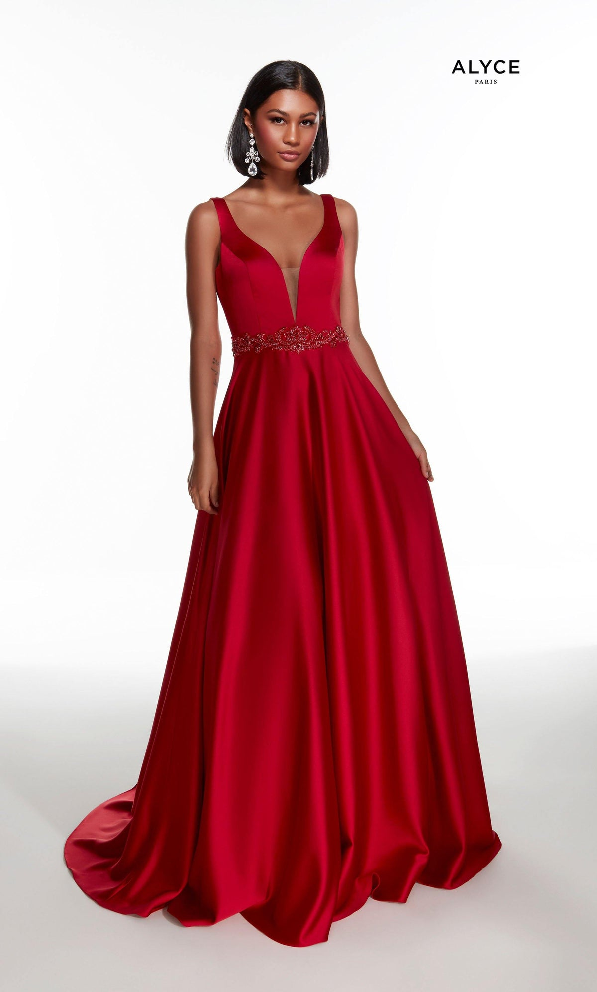 Red luminous satin A line formal dress with a plunging neckline and beaded natural waistline