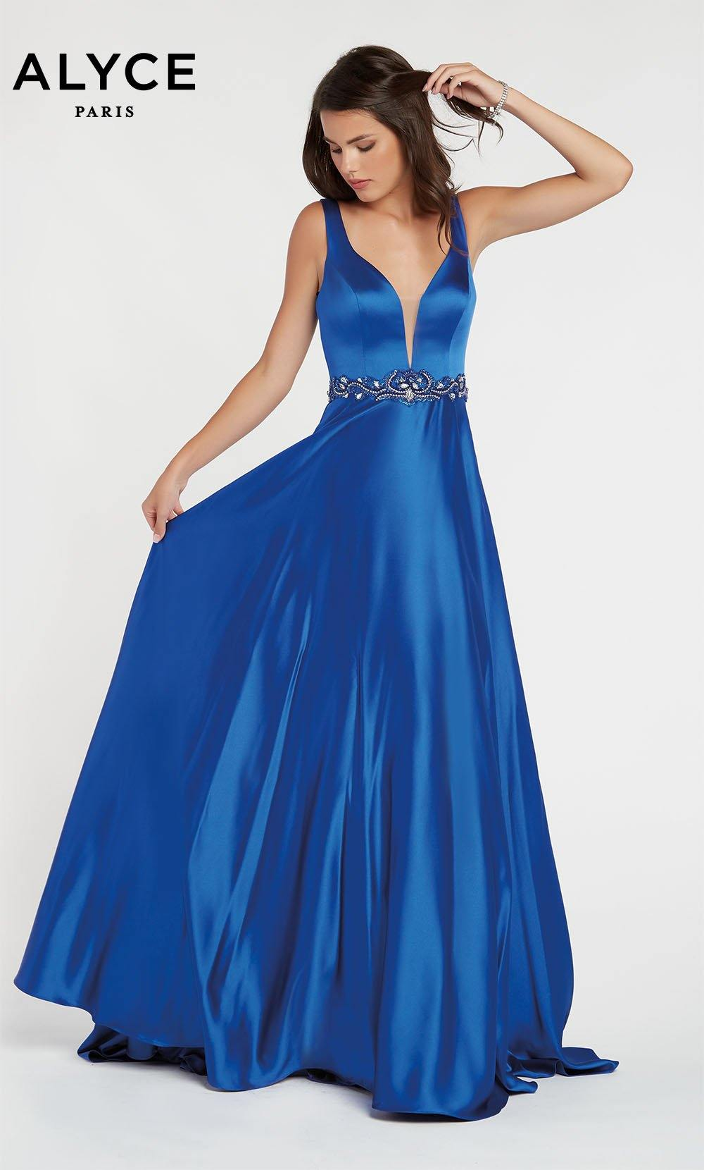 Royal Blue luminous satin A line prom dress with a plunging neckline and beaded natural waistline