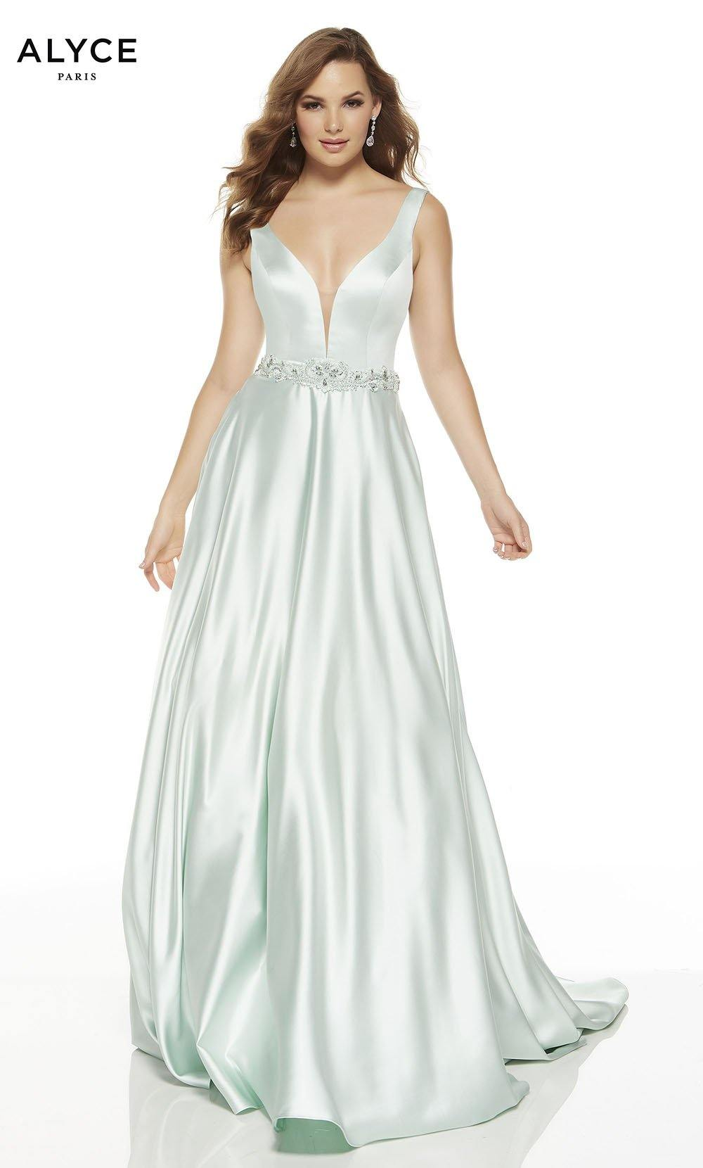 Sea Glass Green luminous satin A line formal dress with a plunging neckline and beaded natural waistline