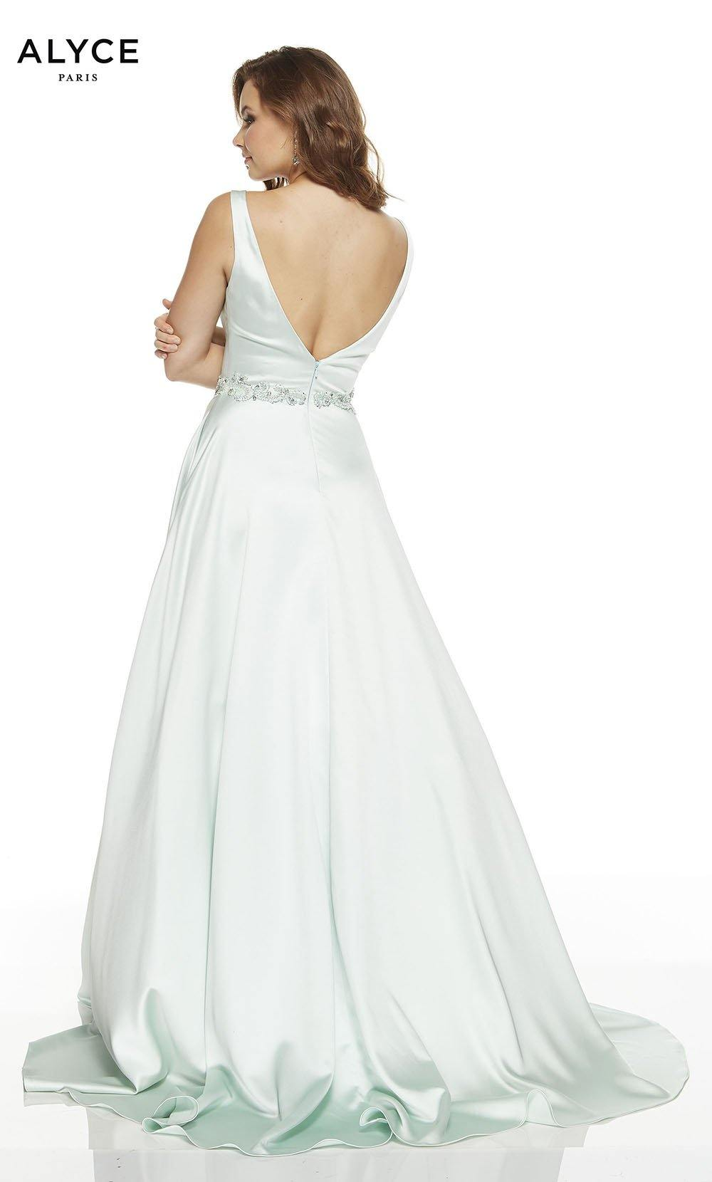 Sea Glass Green luminous satin A line prom dress with a V back, beaded natural waistline, and train
