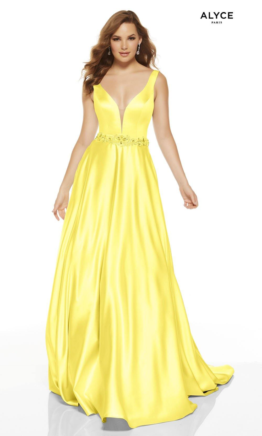 Yellow luminous satin A line prom dress with a plunging neckline and beaded natural waistline