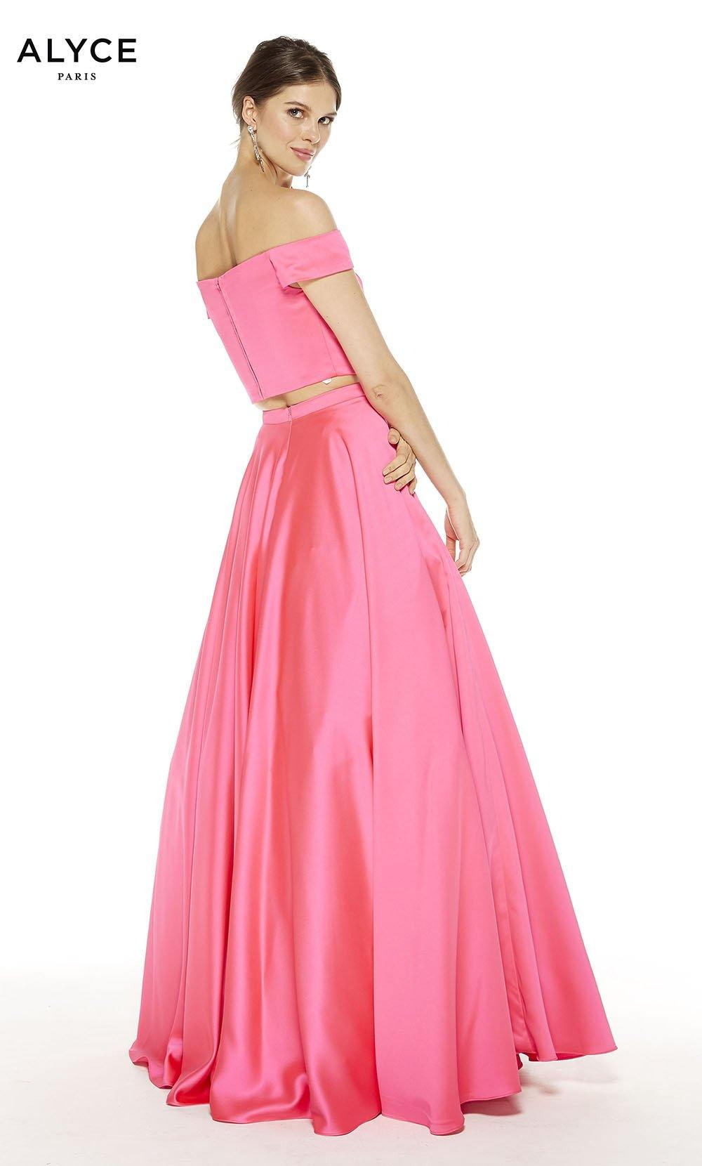 Barbie Pink satin off the shoulder two piece prom dress with an enclosed back