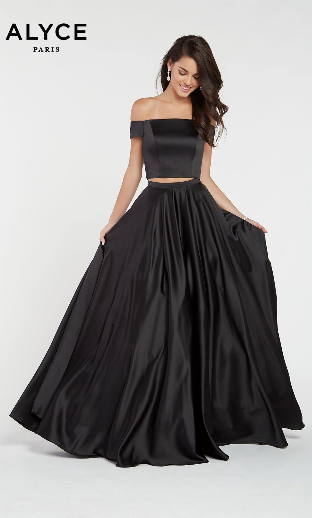 Black satin off the shoulder two piece prom dress