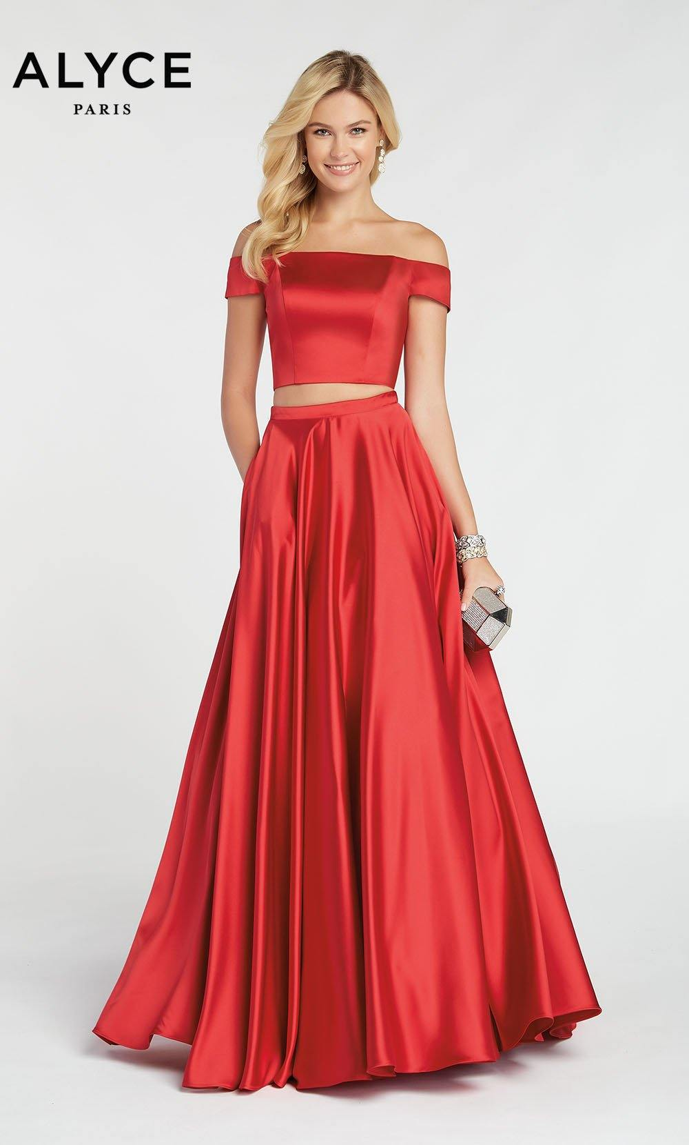 Dark Red satin off the shoulder two piece prom dress