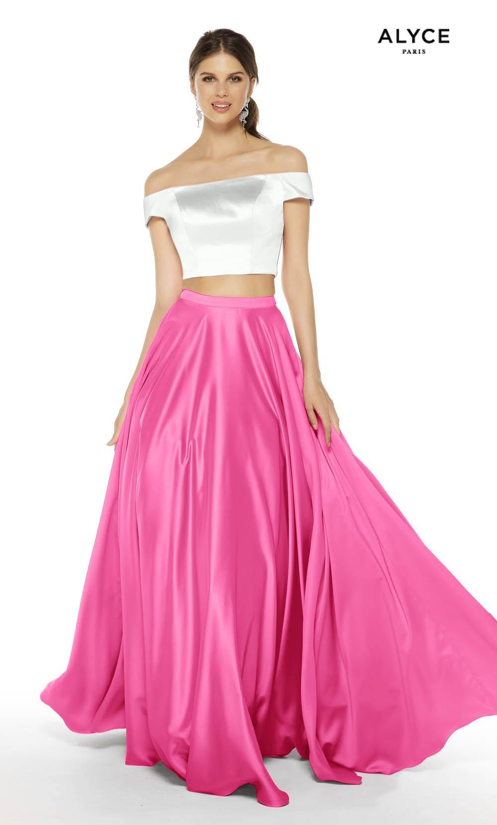 Diamond White-Bubblegum satin off the shoulder two piece prom dress