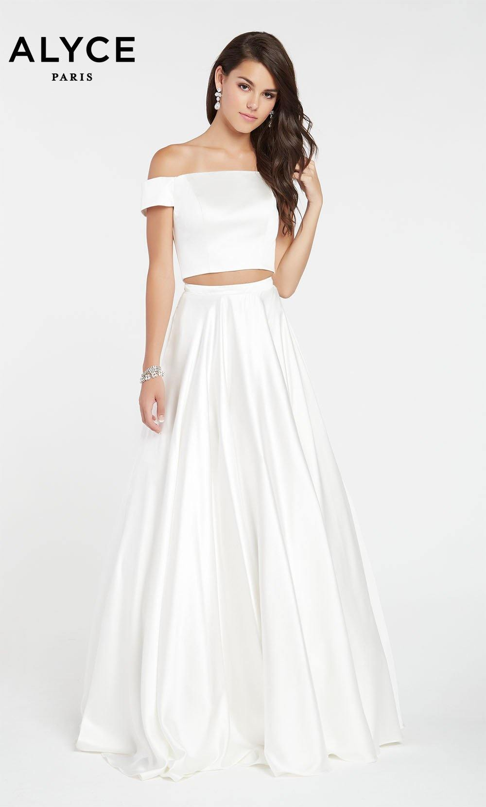 Diamond White satin off the shoulder two piece prom dress