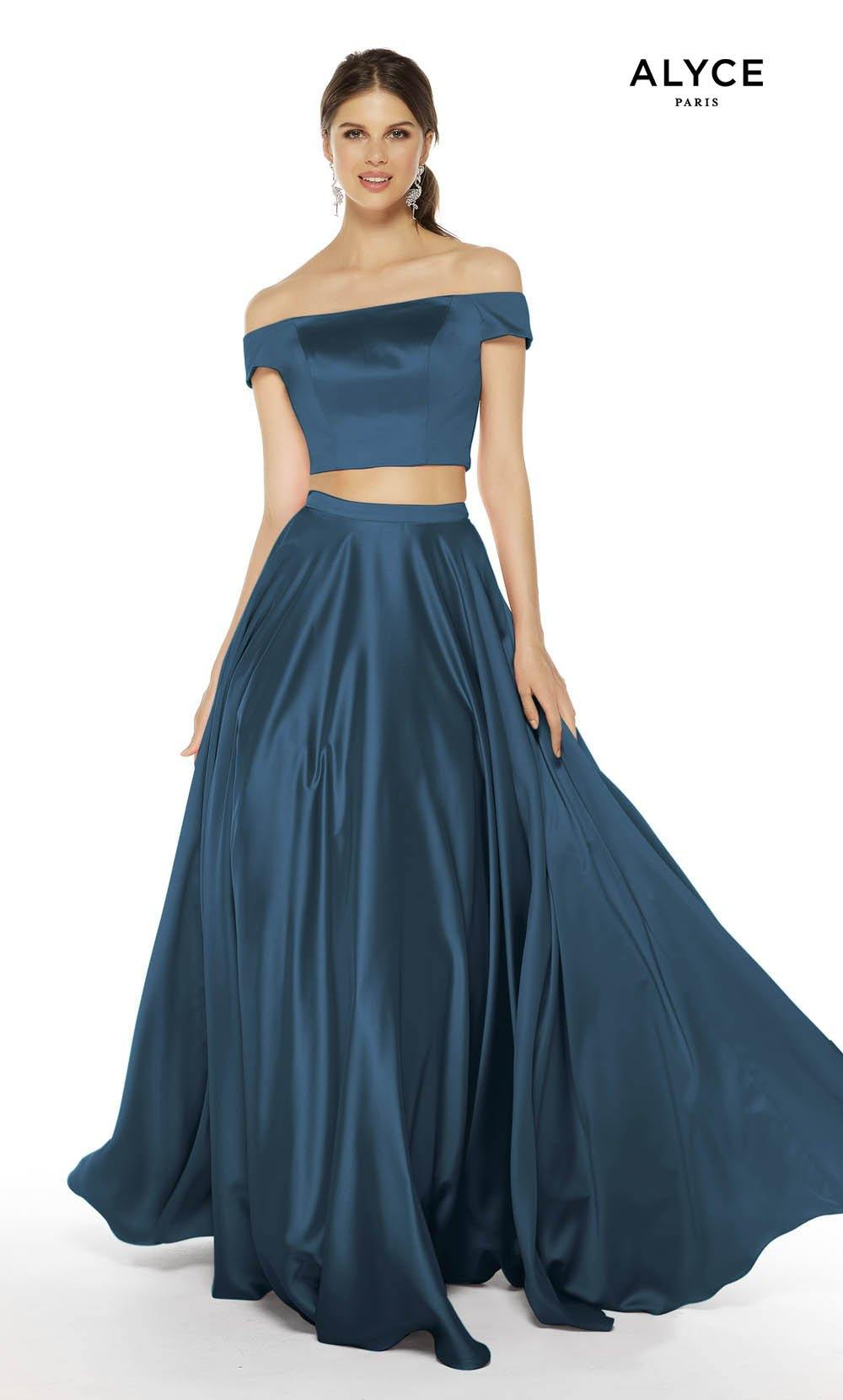 Peacock satin off the shoulder two piece prom dress