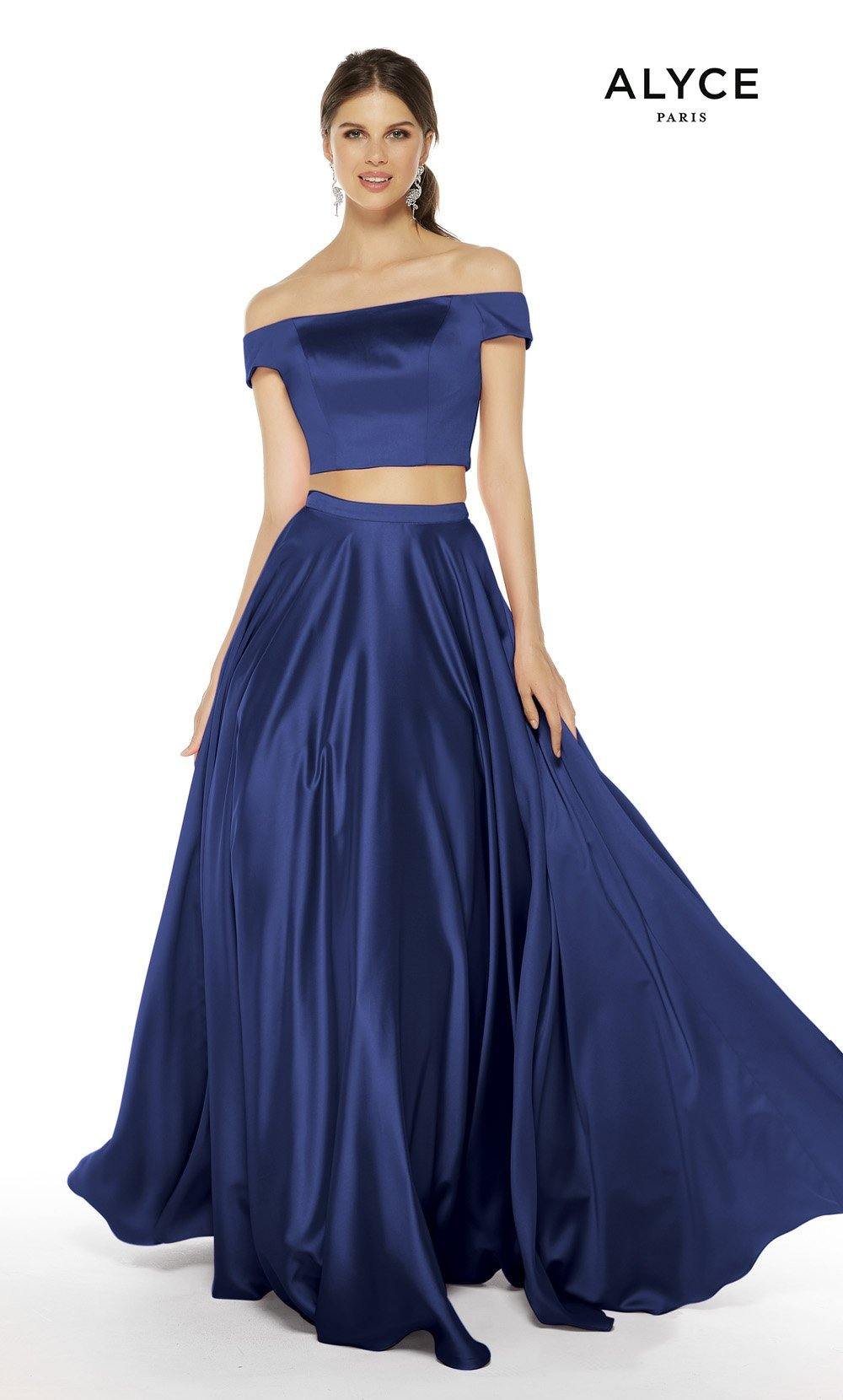Royal Blue satin off the shoulder two piece prom dress
