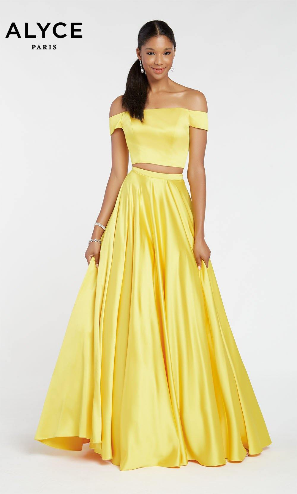 Yellow satin off the shoulder two piece prom dress