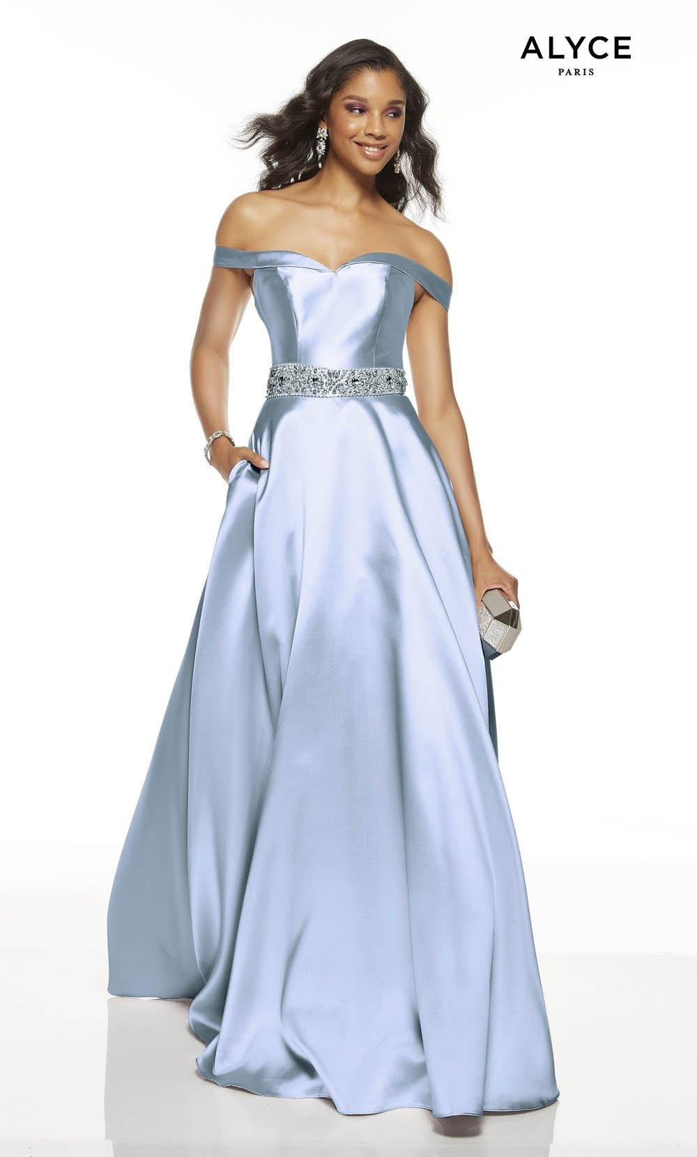 French Blue off the shoulder formal dress with pockets