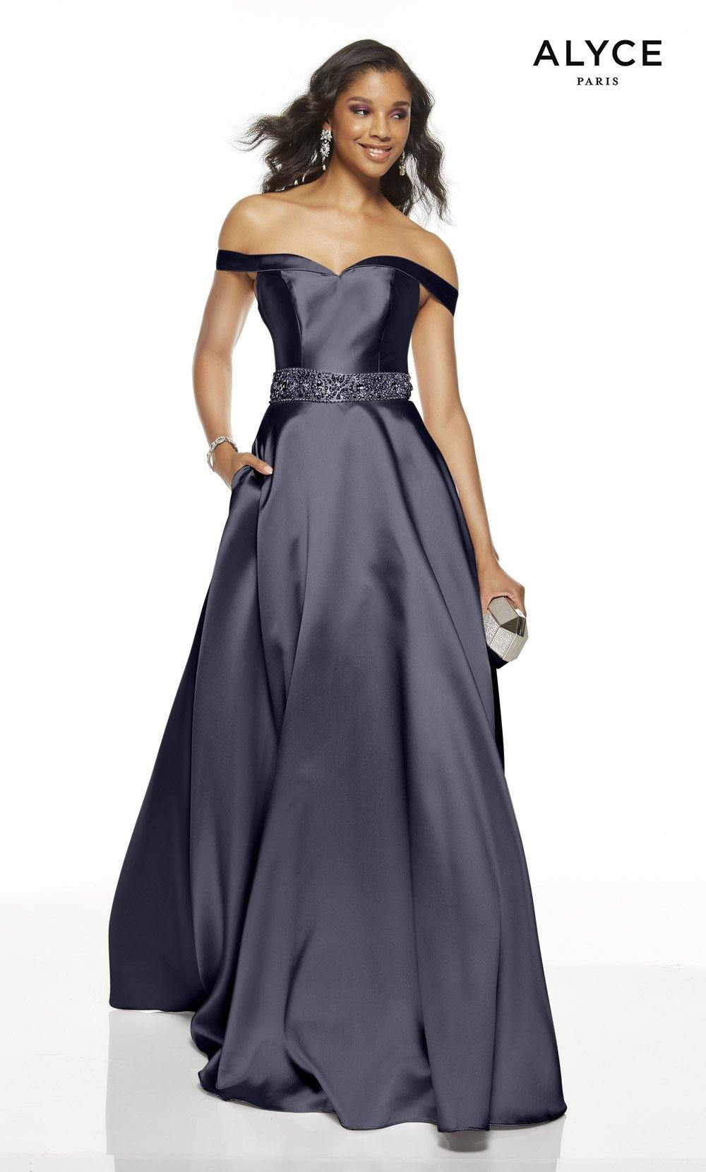 Midnight off the shoulder formal dress with pockets