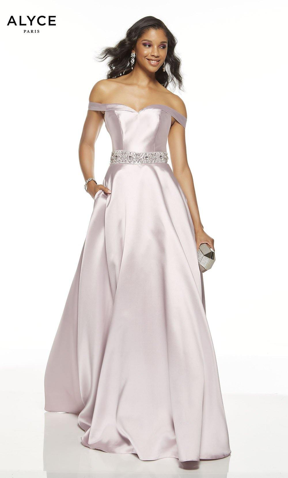 Pink Alabaster off the shoulder formal dress with pockets