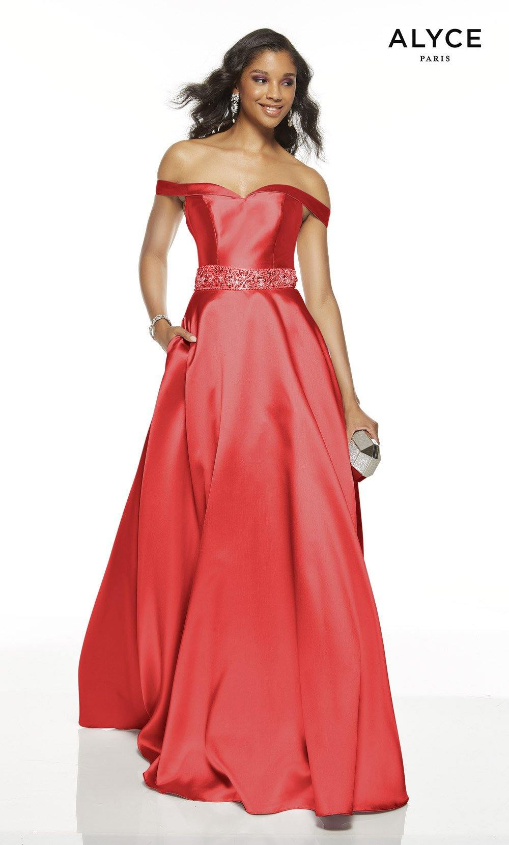 Red off the shoulder formal dress with pockets
