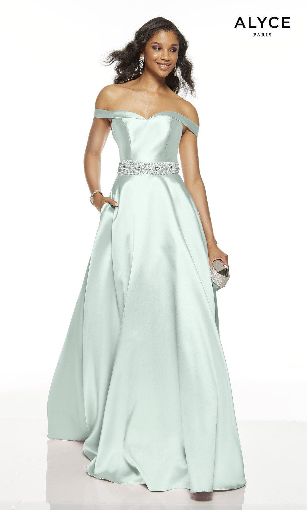 Sea Glass off the shoulder formal dress with pockets