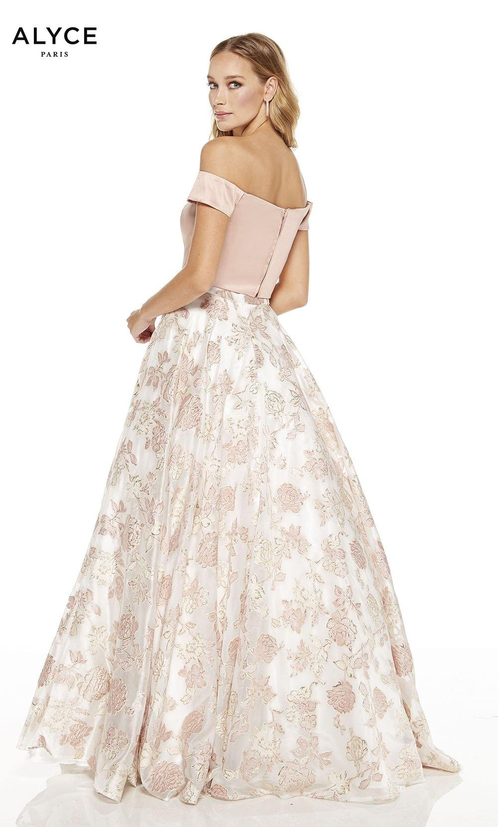 Dusty Rose - Diamond white off the shoulder two piece prom dress with zip up satin crop top and a floral skirt