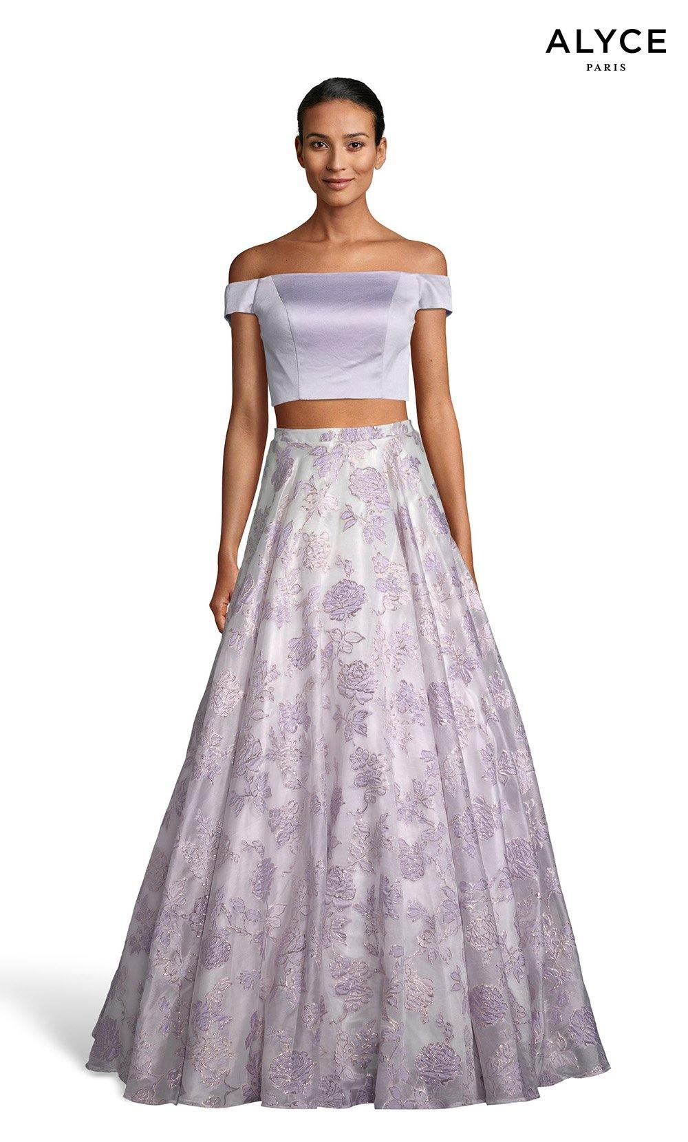 Ice Lilac-Diamond White off the shoulder two piece prom dress with satin crop top and a floral skirt