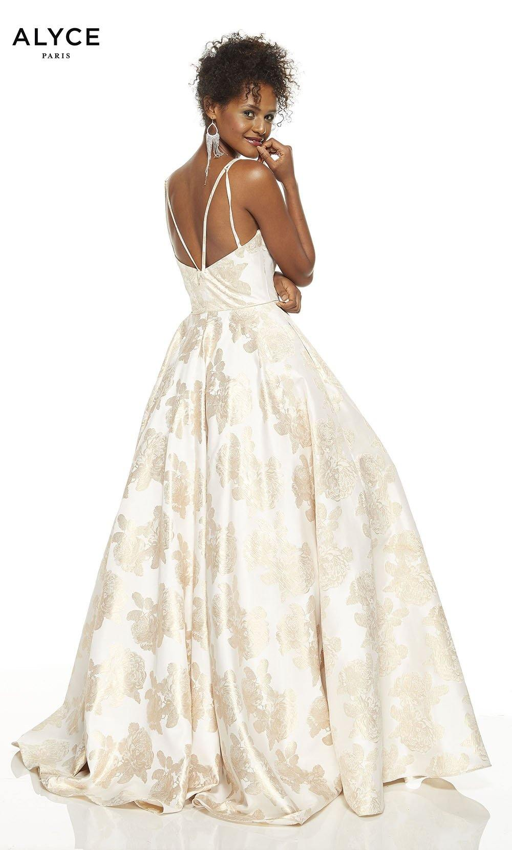 Gold-Ivory formal gown with an enclosed back