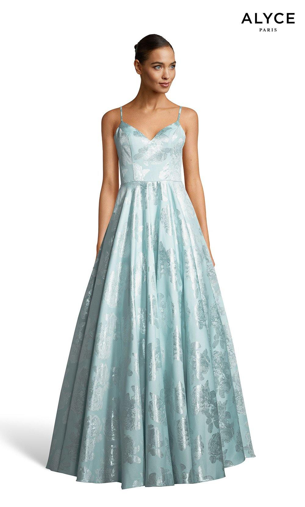 Sea Glass V-neck formal gown with pockets