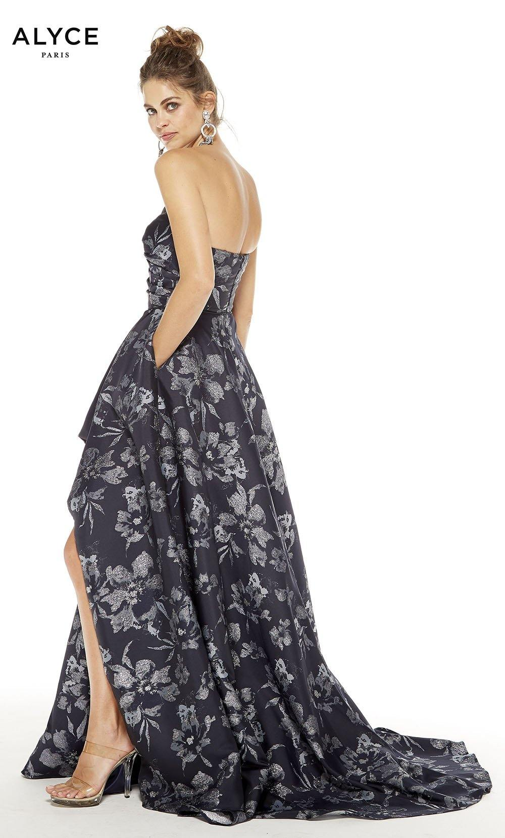 Midnight Silver strapless floral gown with a zip up back