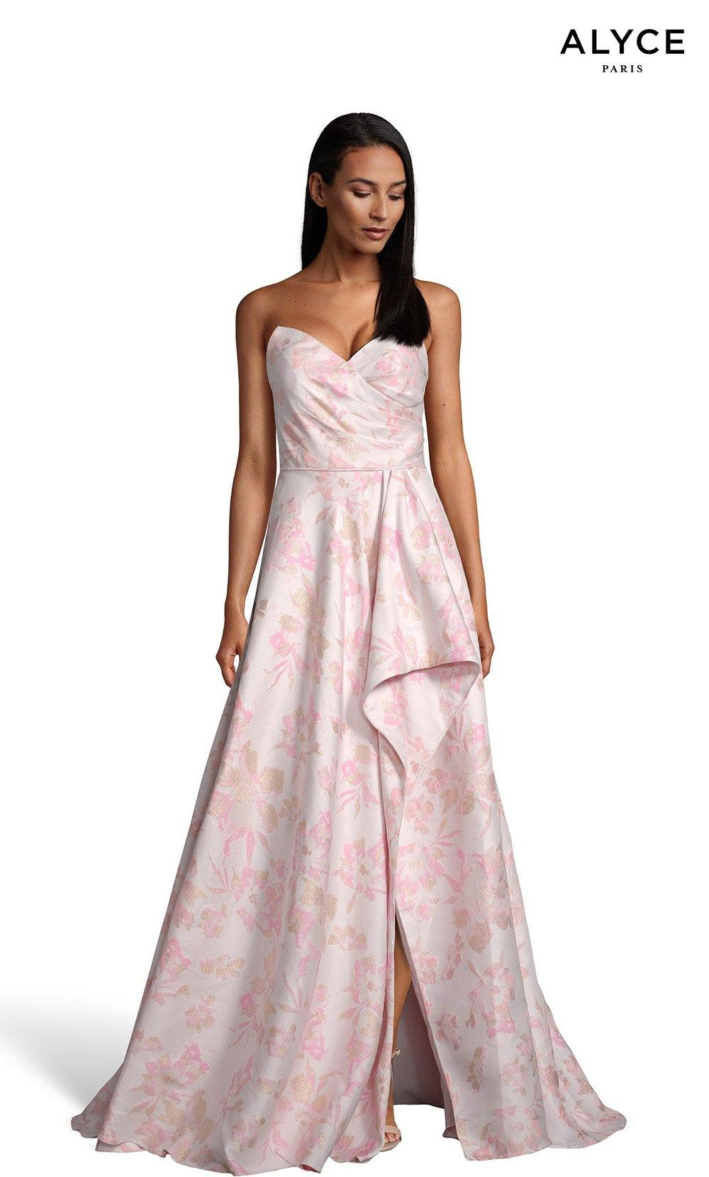 Pink strapless floral gown with a high slit and pockets