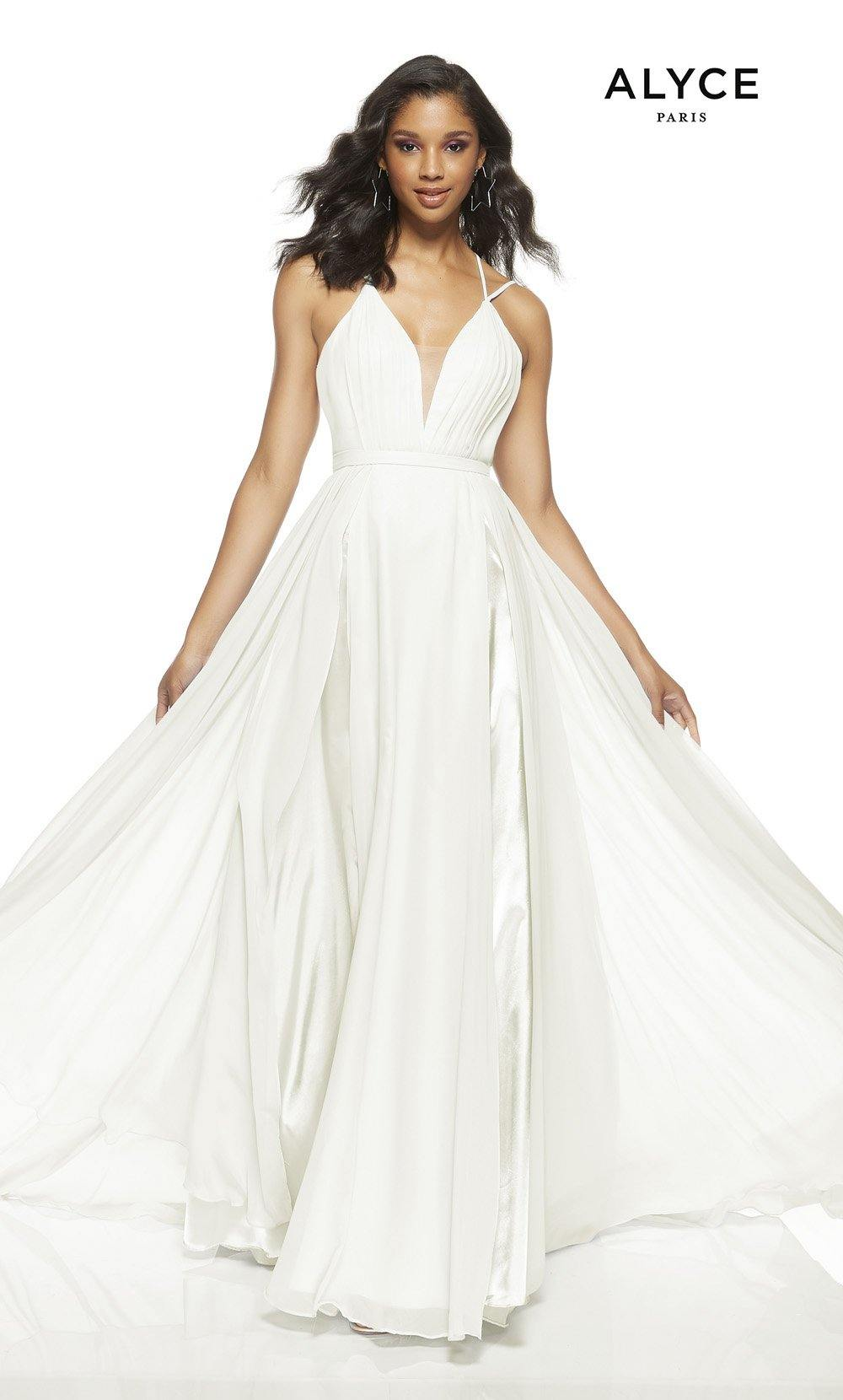 Diamond White flowy wedding guest dress with a plunging neckline