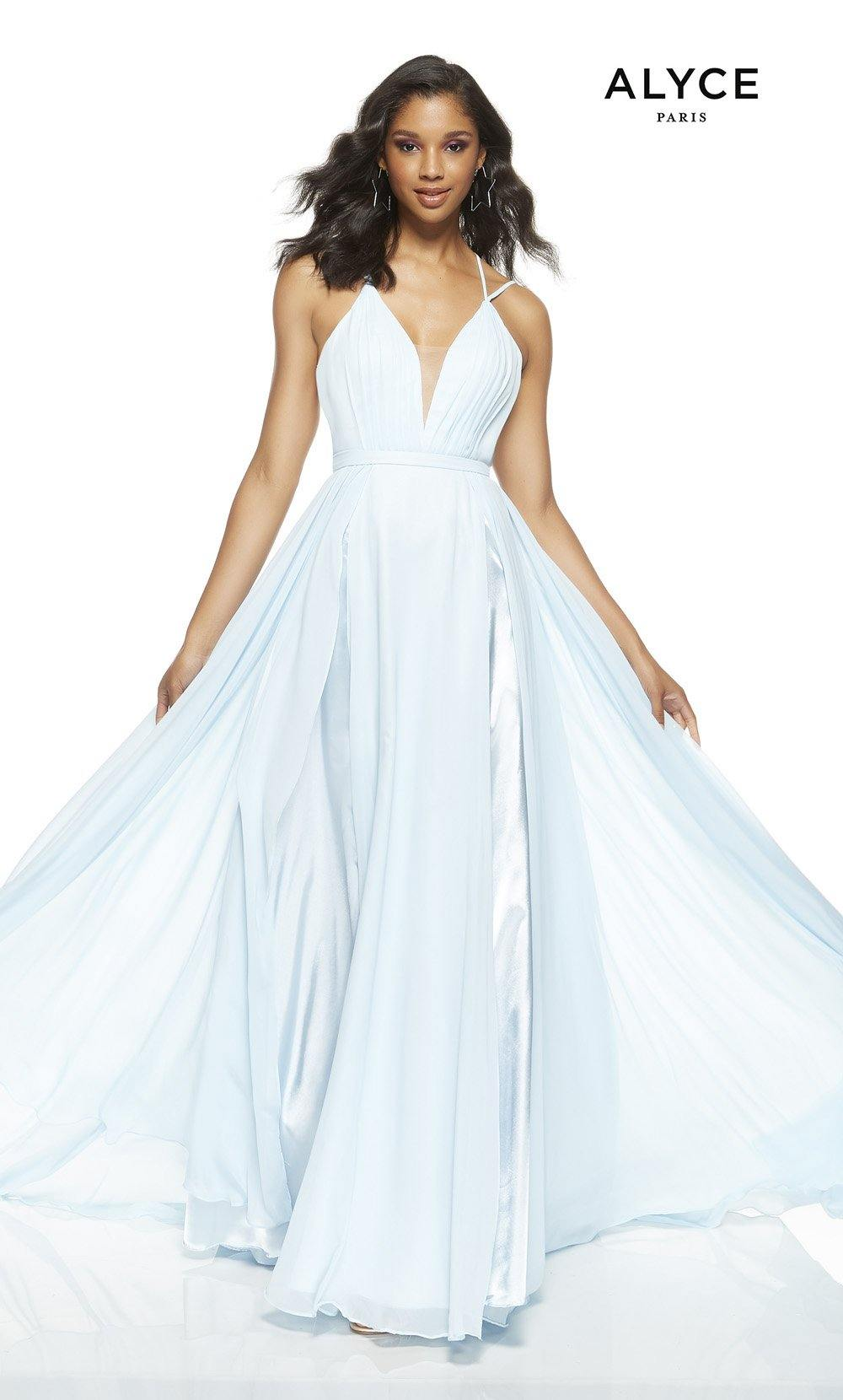 Powder Blue flowy wedding guest dress with a plunging neckline
