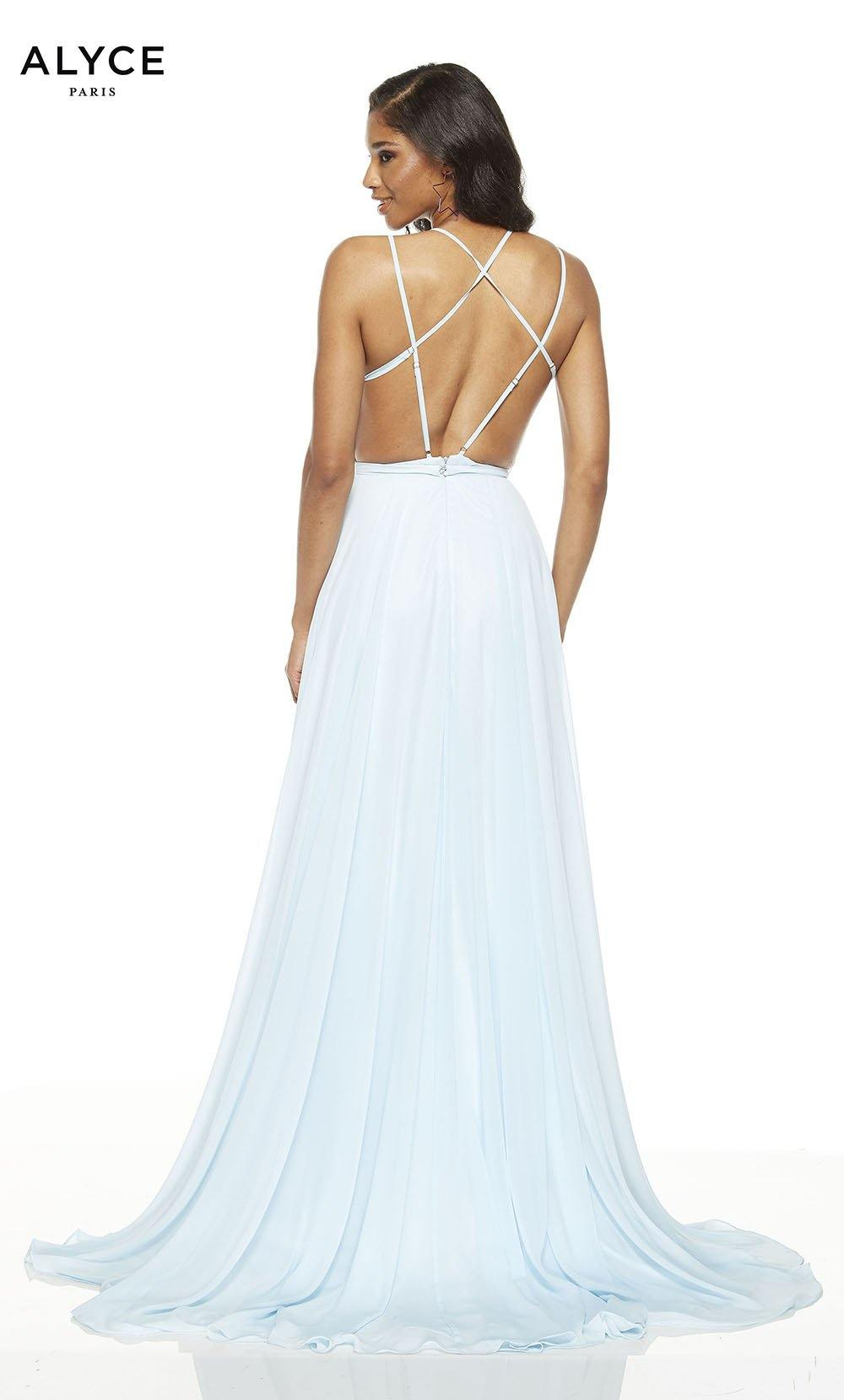 Powder Blue flowy wedding guest dress with a strappy back