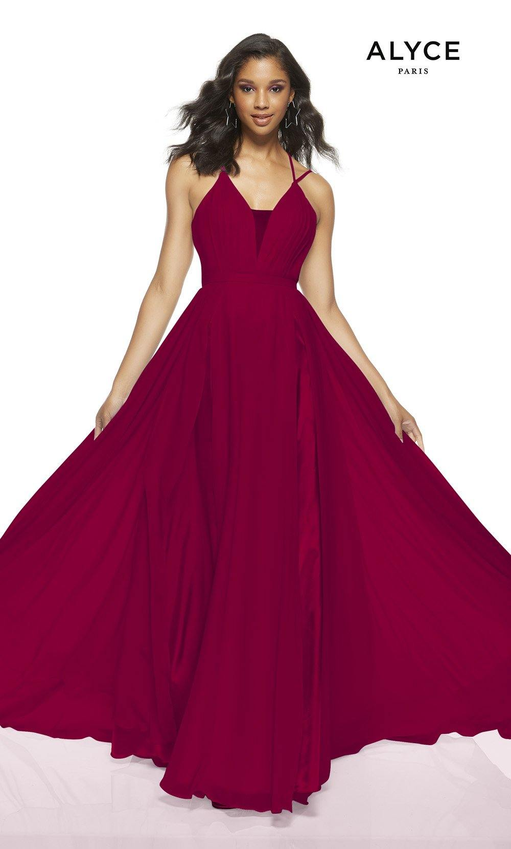 Red flowy wedding guest dress with a plunging neckline