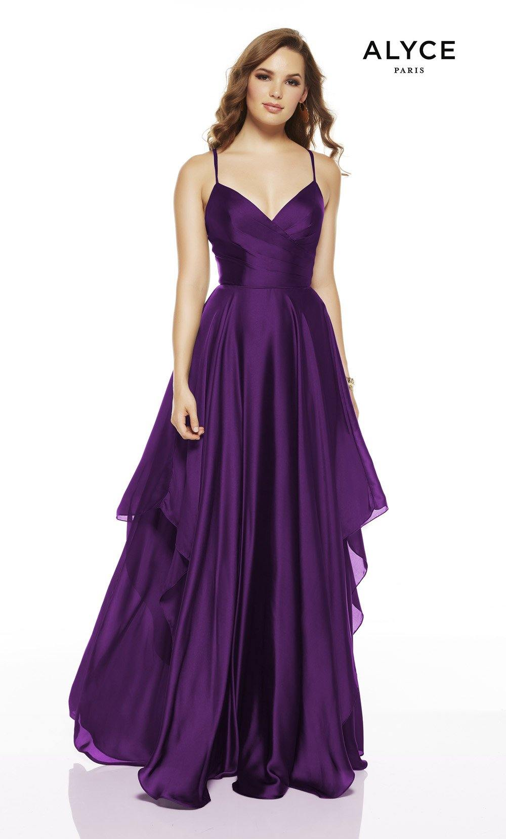 Amethyst flowy wedding guest dress with a V-neckline