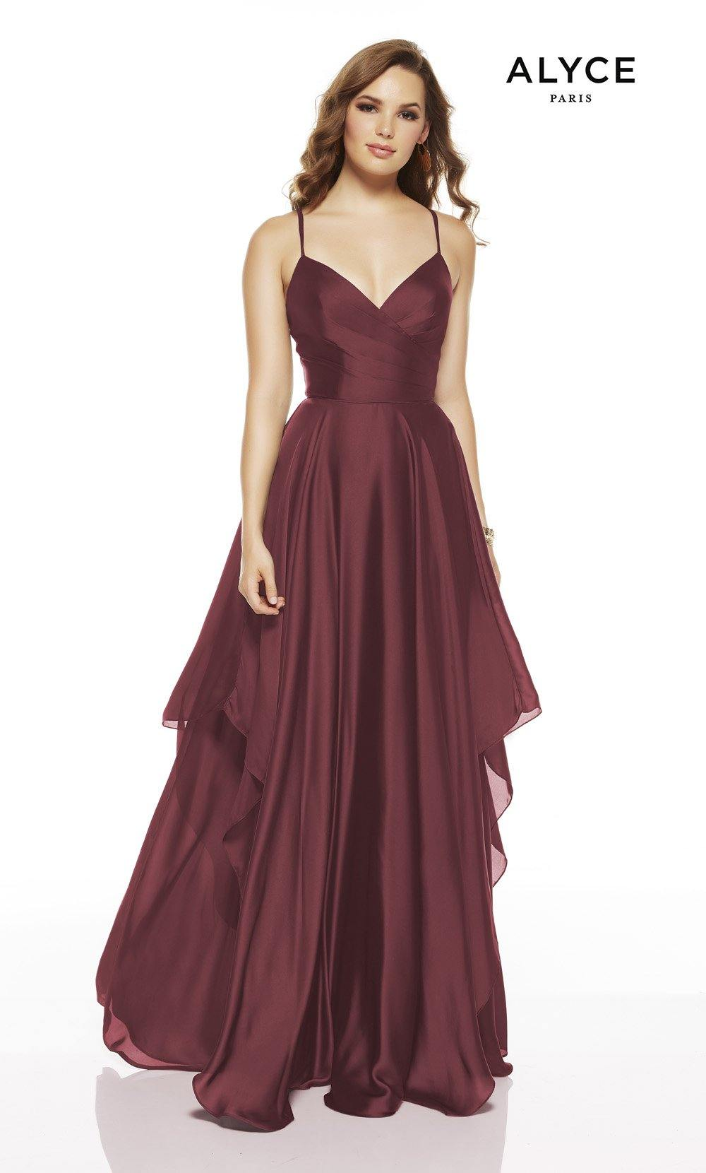Cinnamon flowy wedding guest dress with a V-neckline