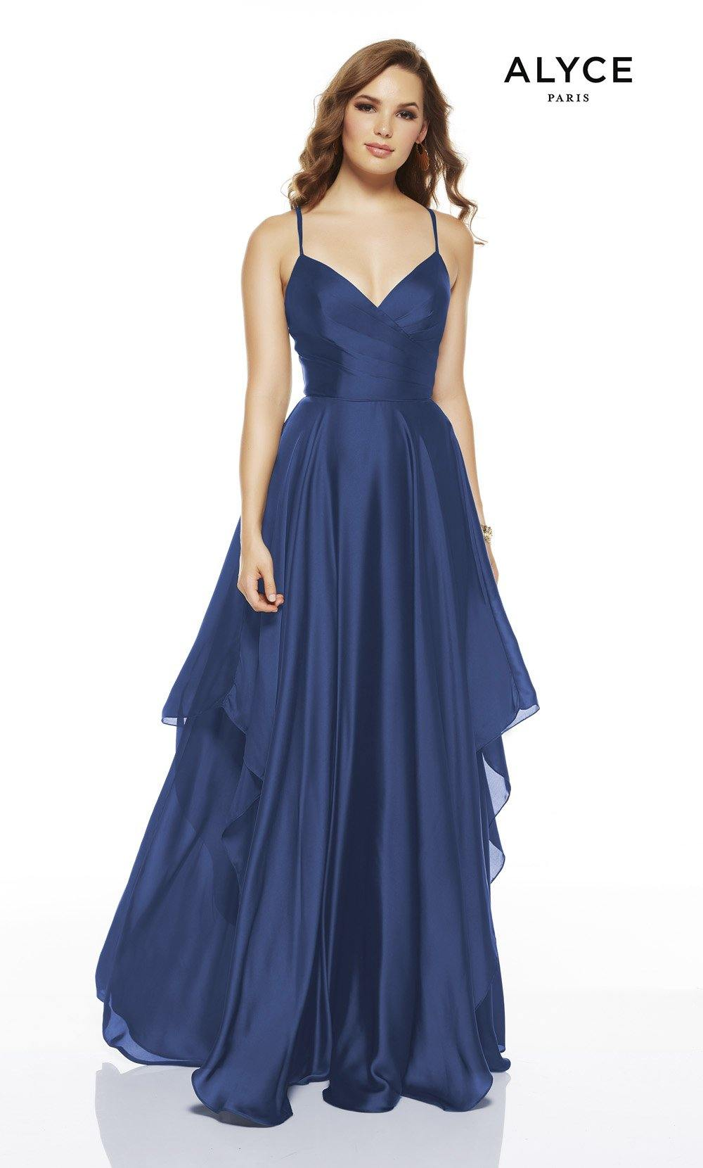 Cobalt flowy wedding guest dress with a V-neckline