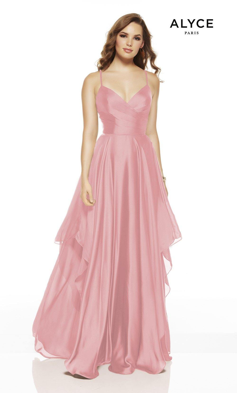 Rosewood flowy wedding guest dress with a V-neckline