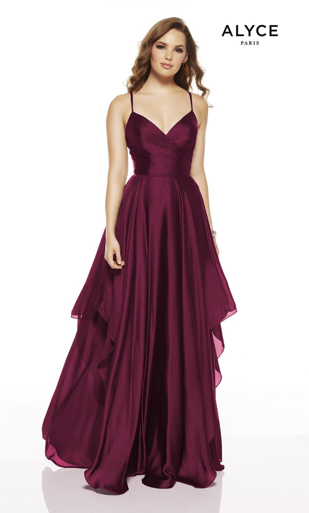 Wine flowy wedding guest dress with a V-neckline