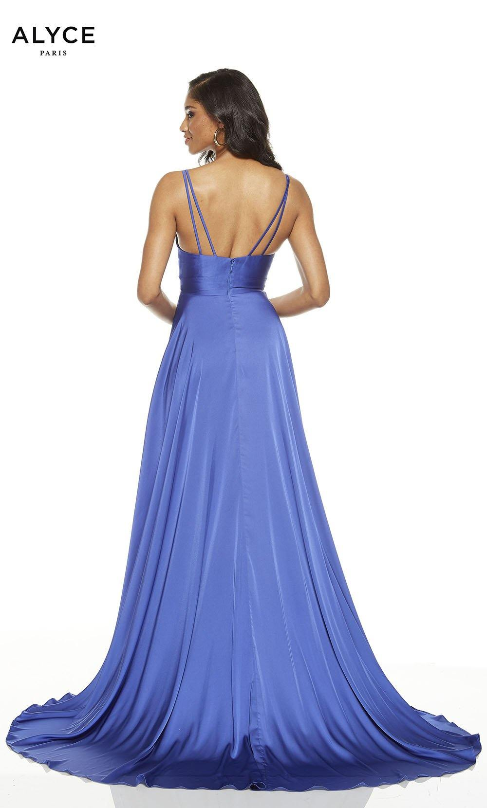 Cobalt flowy gown with a slit and V-neckline