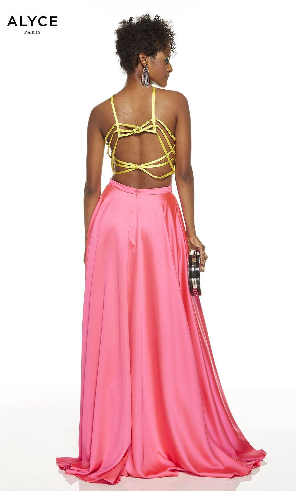 Lemon Lime-Barbie Pink two piece prom dress with a yellow halter top and a pink skirt