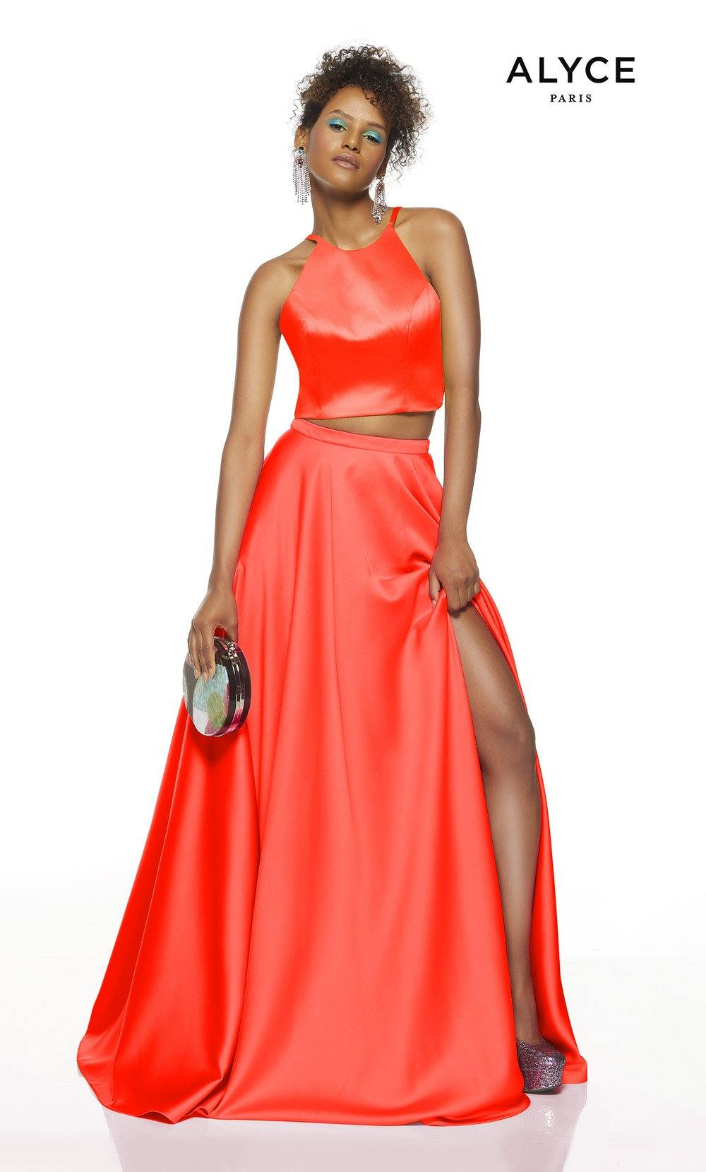 Tiger Lily Solid two piece prom dress with a Yellow halter top and a Pink skirt
