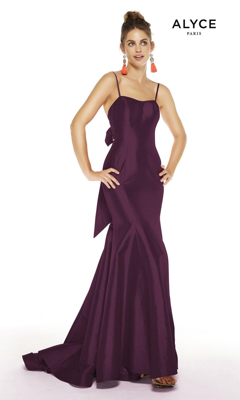 Black Plum formal dress with a squared neckline