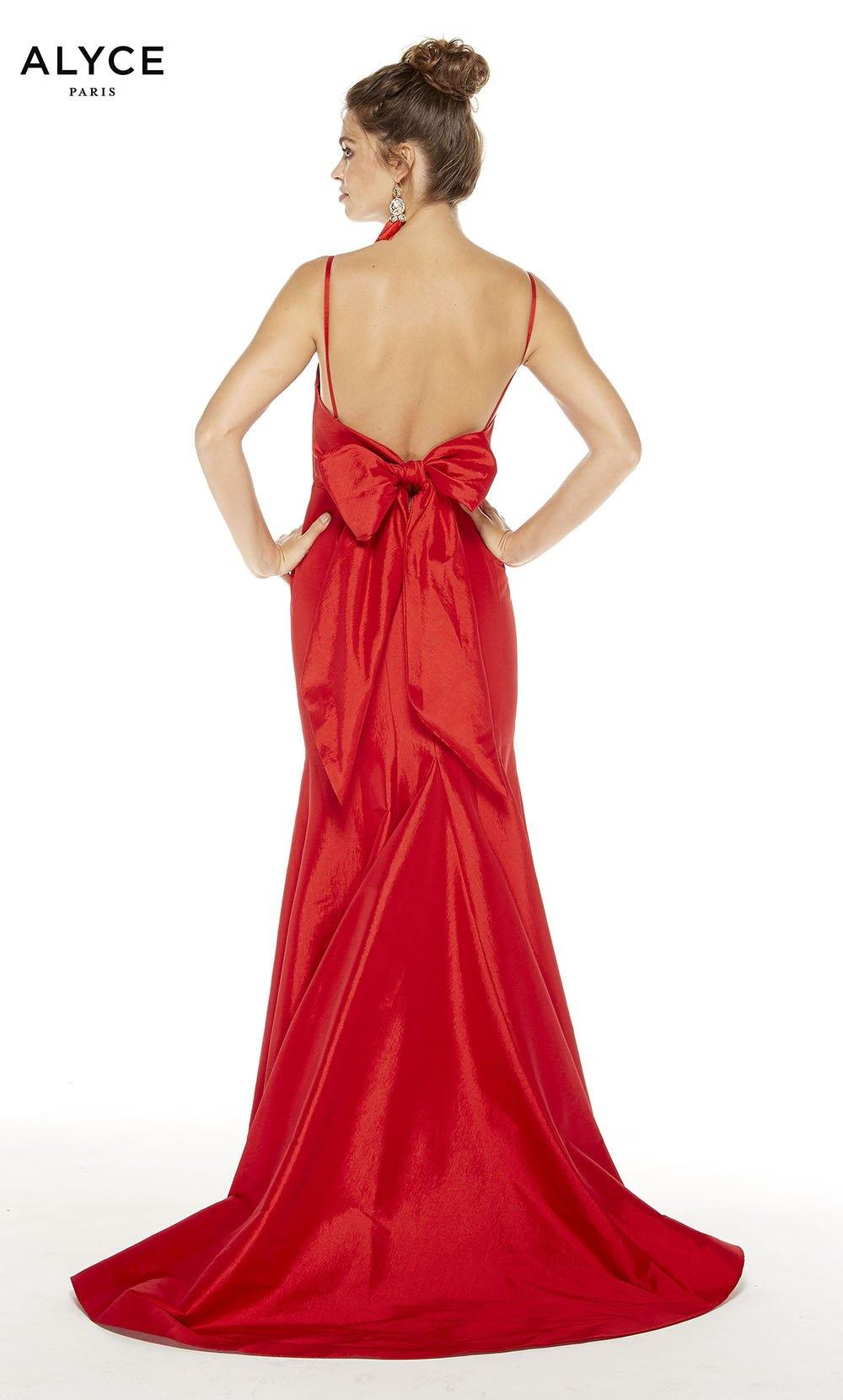 Red formal dress with an open back and bow