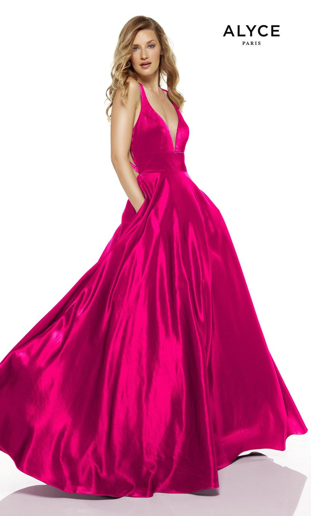 Hot Pink red-carpet gown with pockets and a plunging neckline