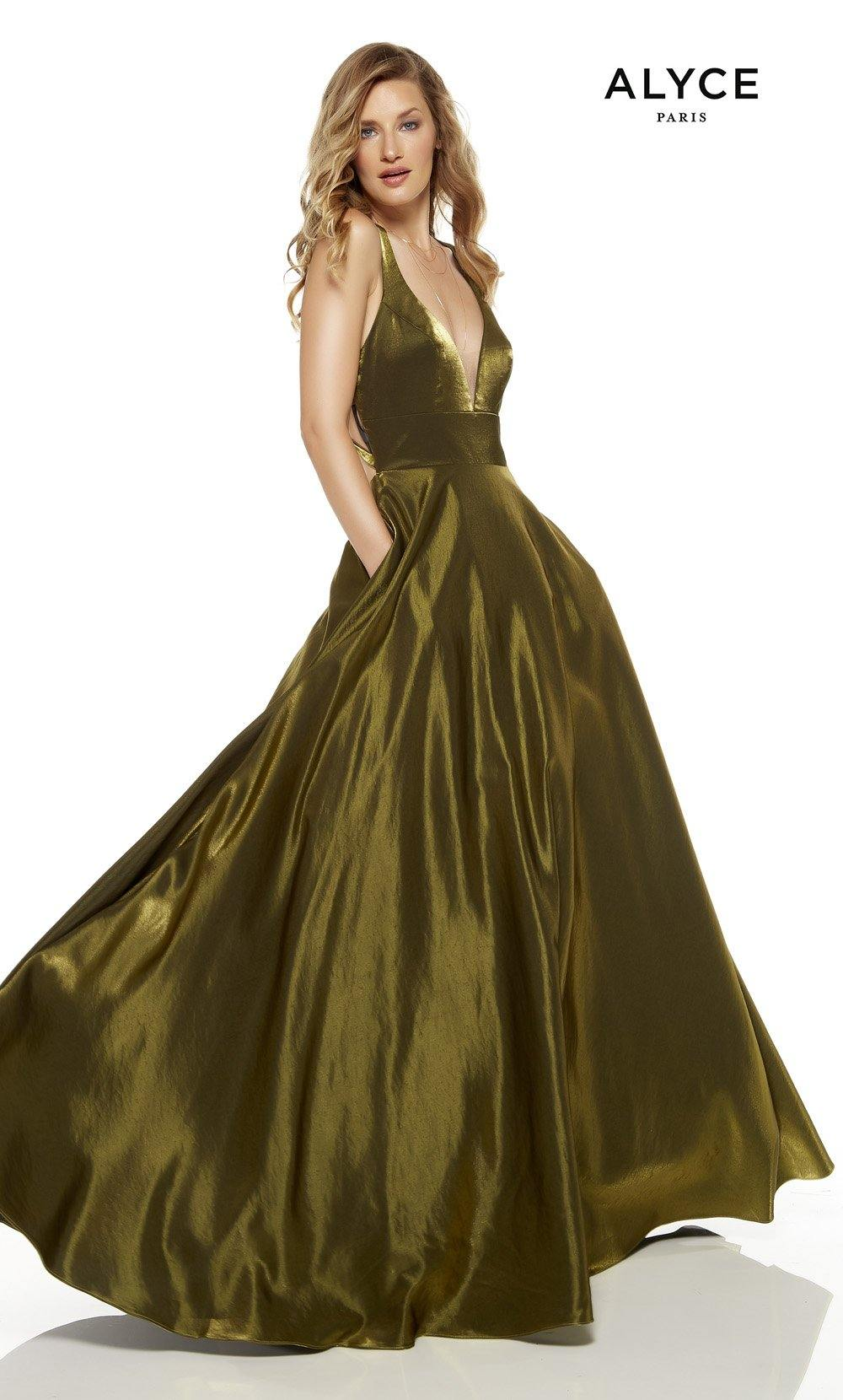 Olive Green red-carpet gown with pockets and a plunging neckline