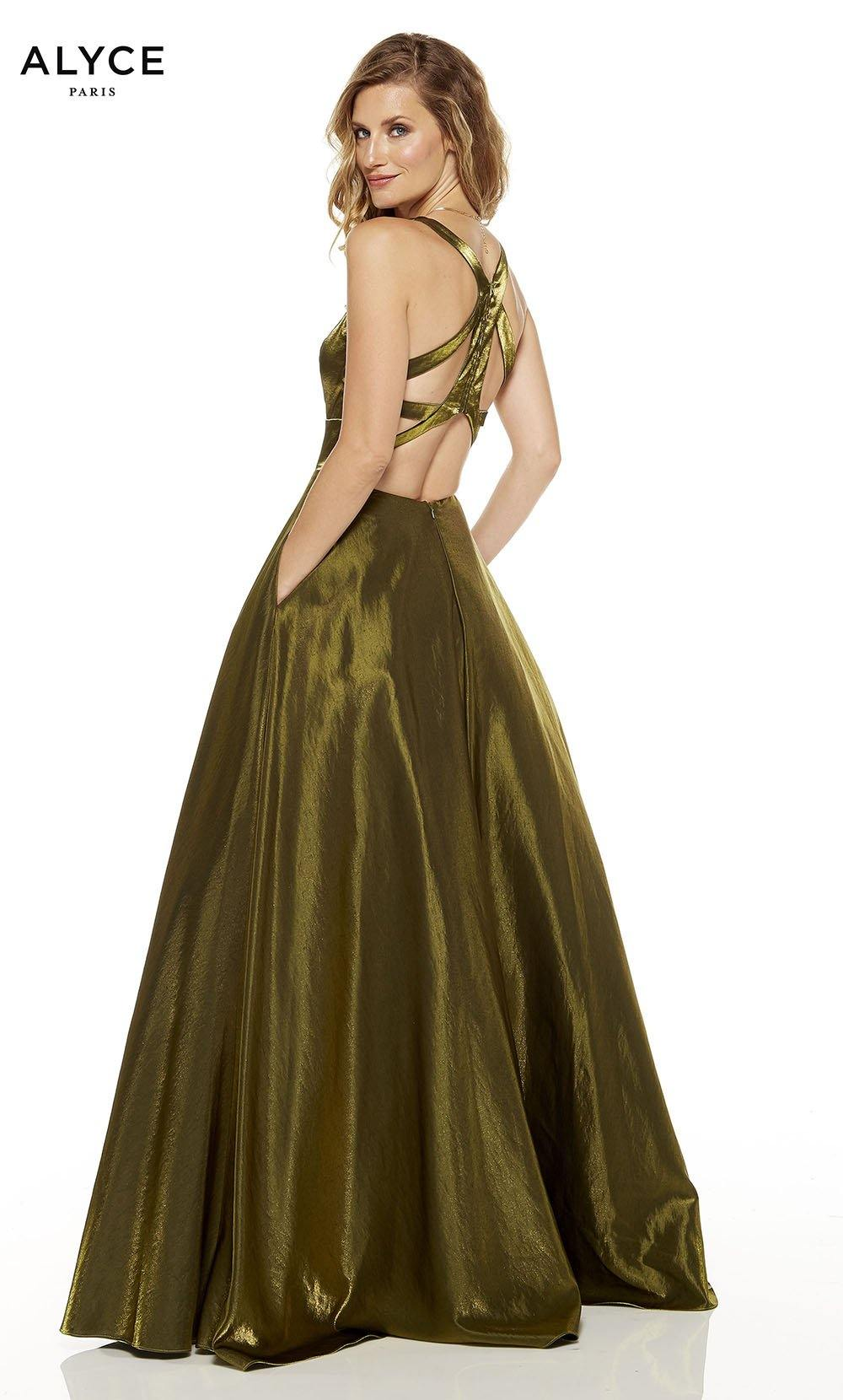Olive Green red-carpet gown with a strappy back