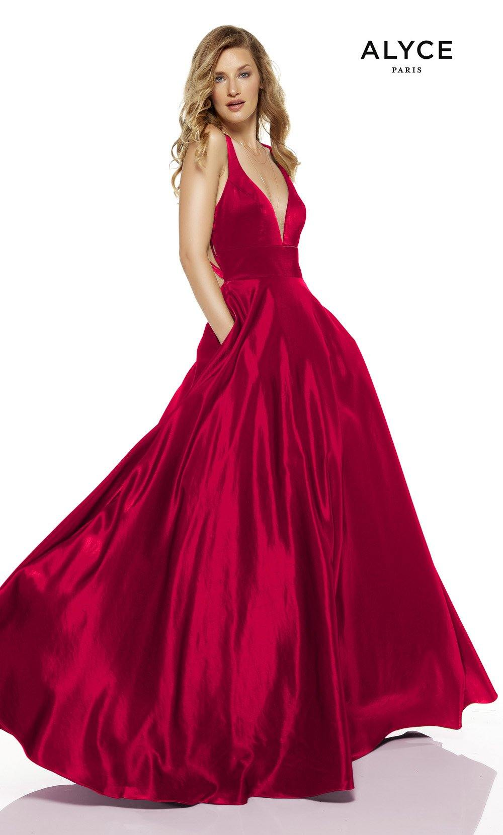 Red formal dress with pockets and a plunging neckline