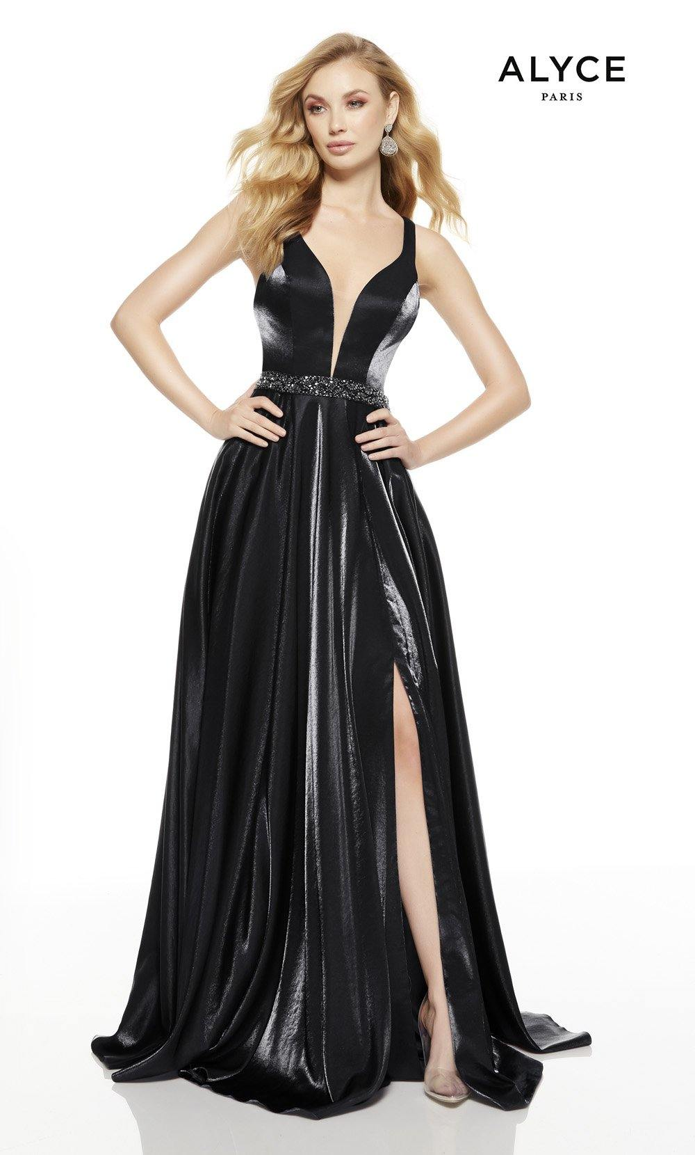 Black prom dress with a slit and plunging neckline