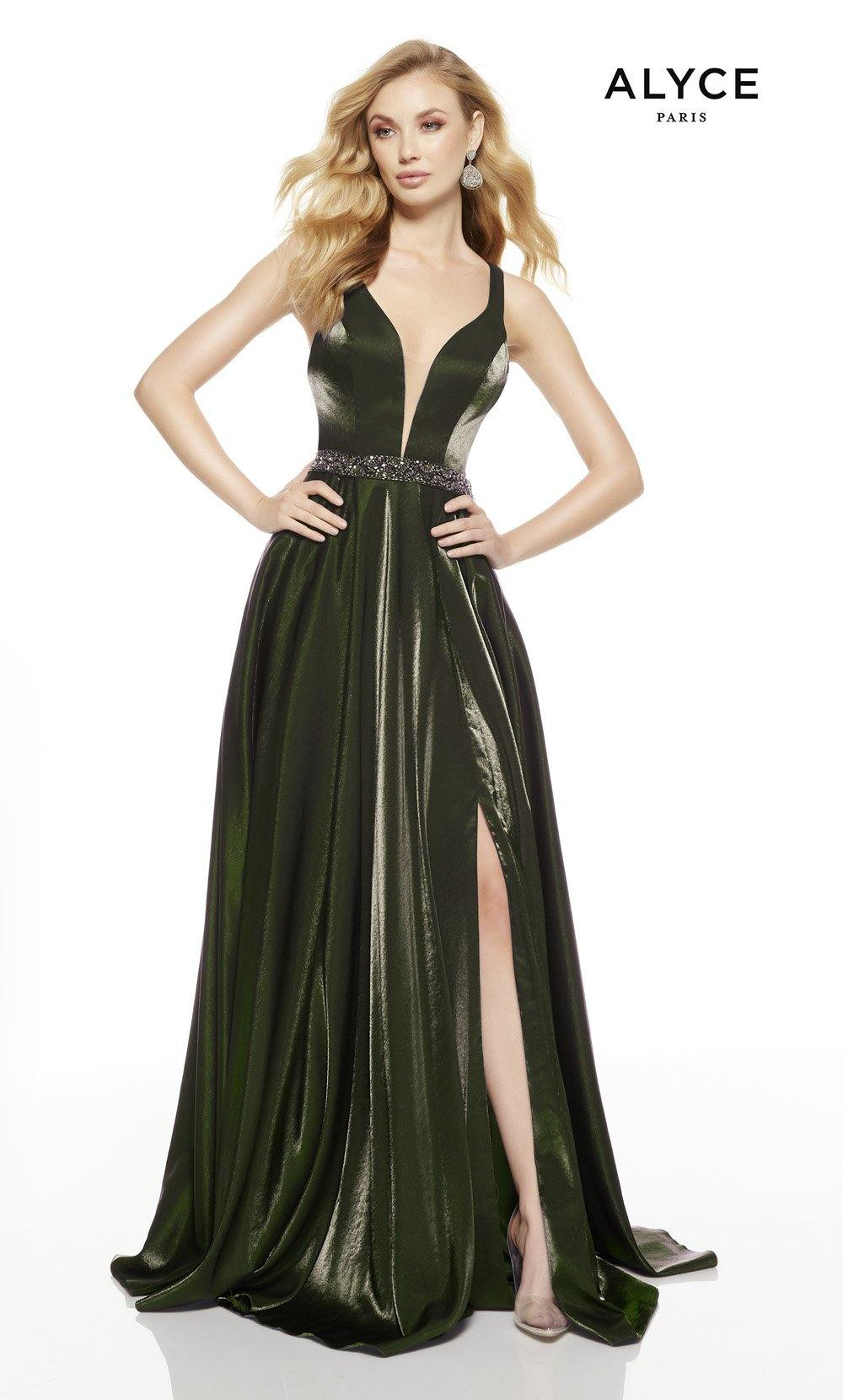 Olive Green prom dress with a slit and plunging neckline