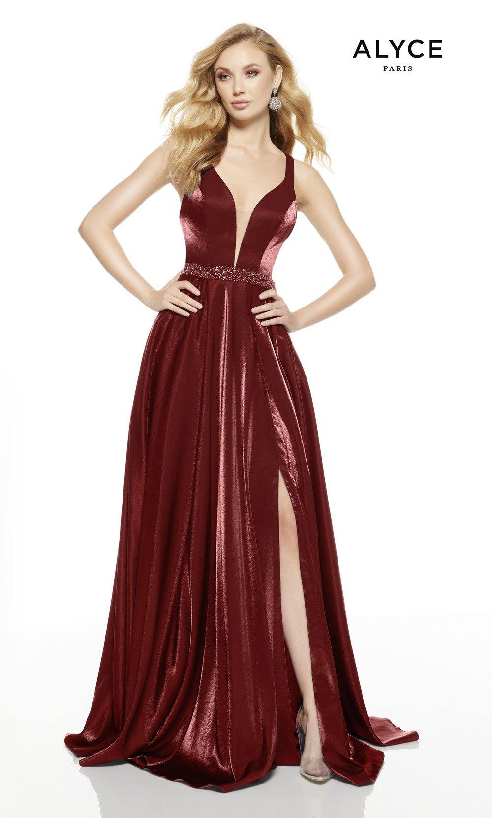 Wine prom dress with a slit and plunging neckline